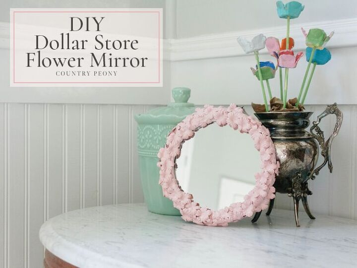 diy dollar store flower mirror