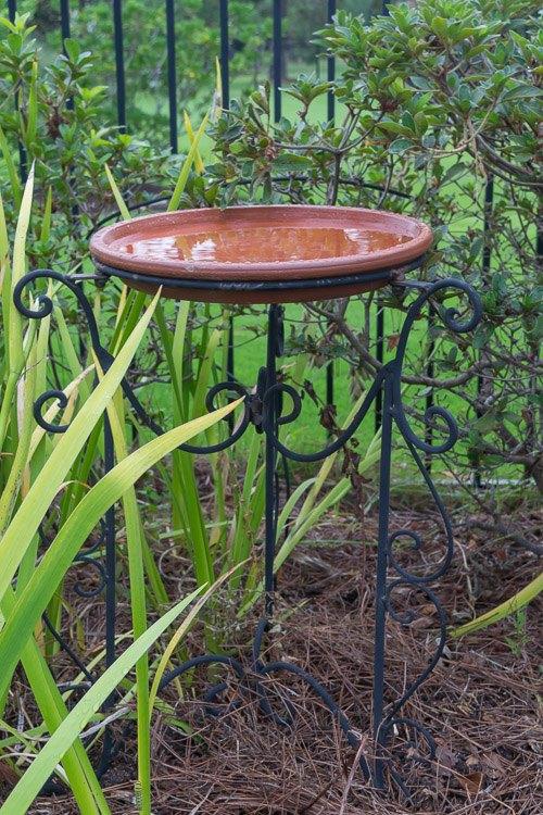 diy bird bath with waterproof terra cotta