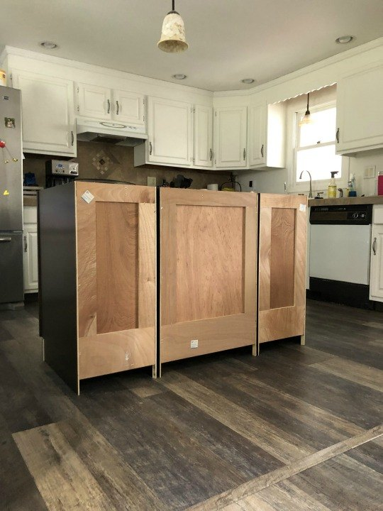 turning base cabinets into an island