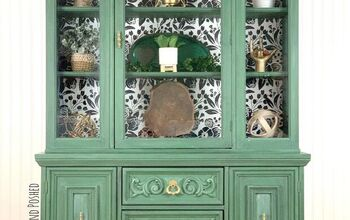 Green & Stenciled Hutch Makeover