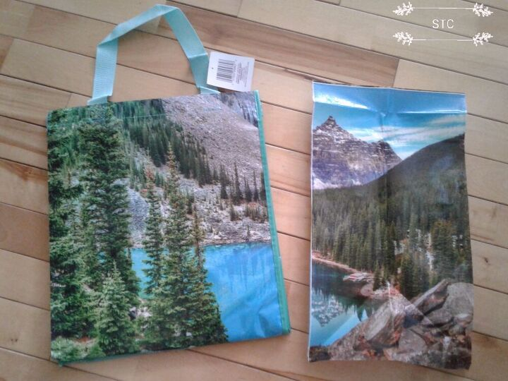 turning a shopping bag into beautiful wall art