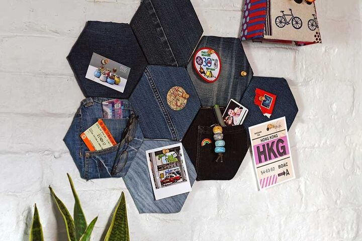 upcycled denim pin board