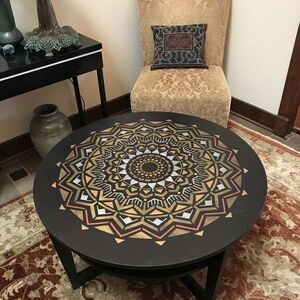 Stenciled Mandala Table