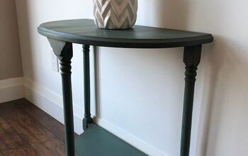 Milk Painted Antique Demi Lune Table