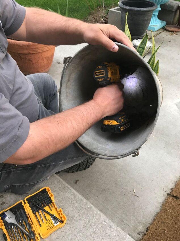 metal bucket to planter