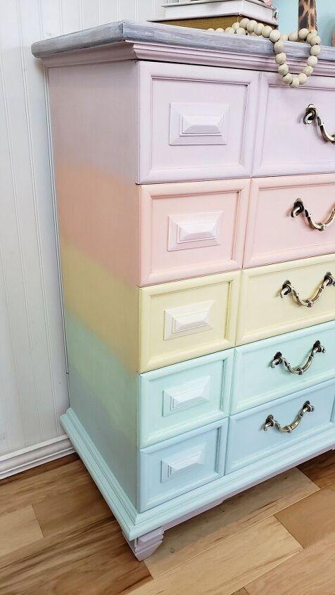 pastel rainbow furniture makeover