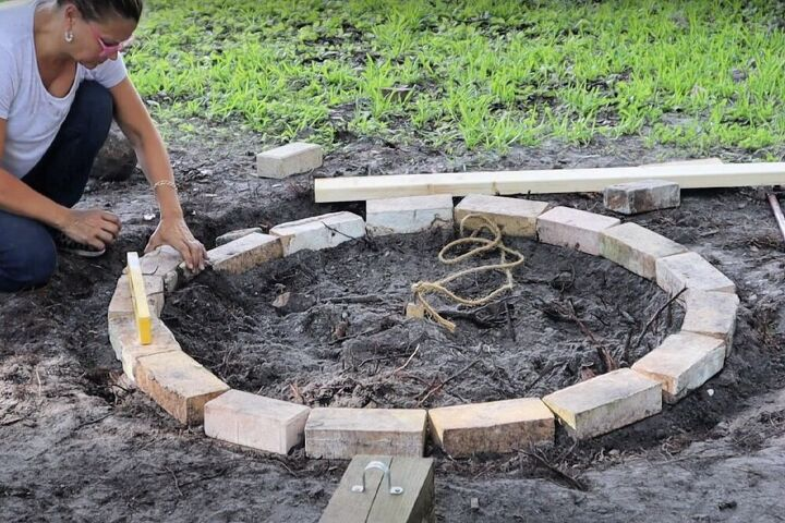 diy brick fire pit made with leftover bricks