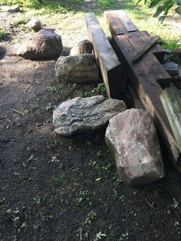 q how do i place large boulders around pond