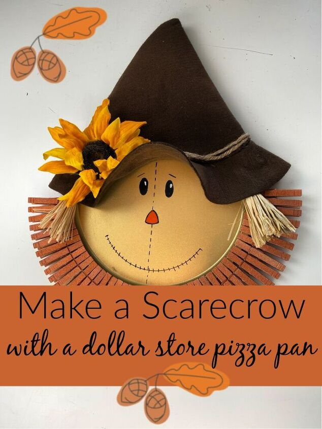 make a pizza pan scarecrow