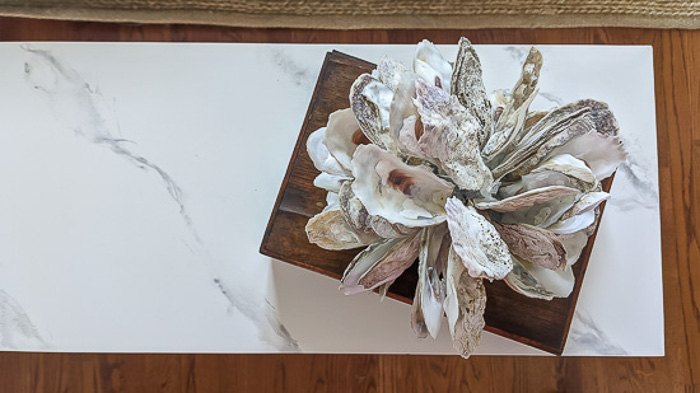 diy faux marble for a console table