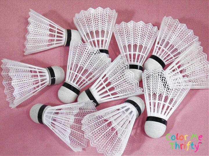 repurposed badminton birdie flowers