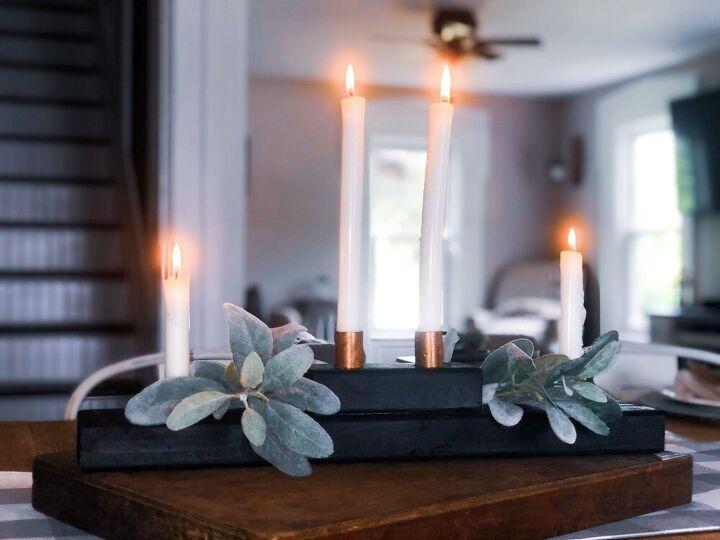 diy wood copper taper candle holder