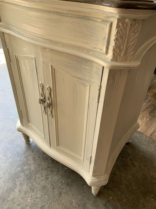 bathroom vanity redesign using retique it chalk paint and prima moulds