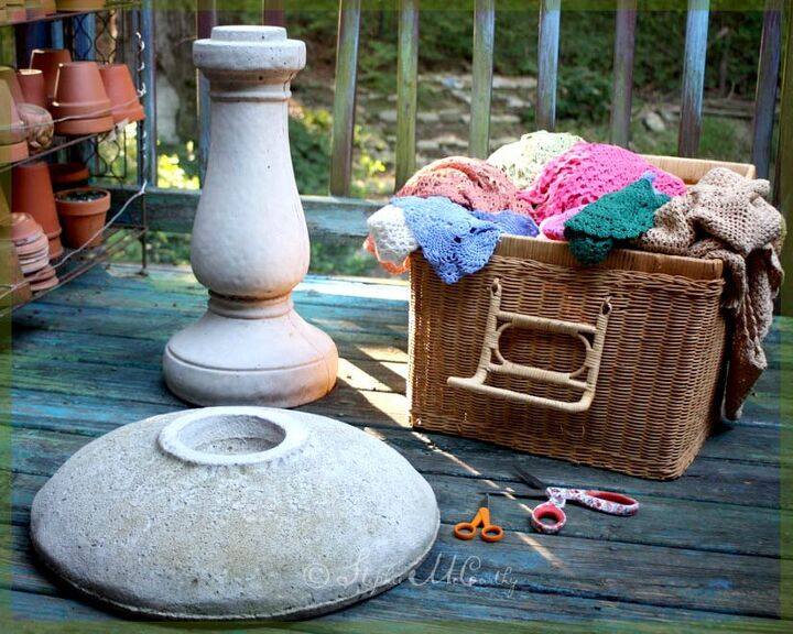 birdbath and garden decorations with real lace