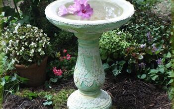 Real Lace on a Birdbath and Concrete Garden Decorations!