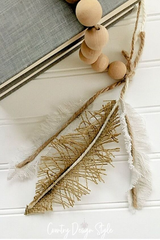 burlap diy craft feather