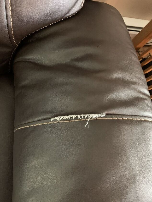 q repairing a ripped seam in leather couch