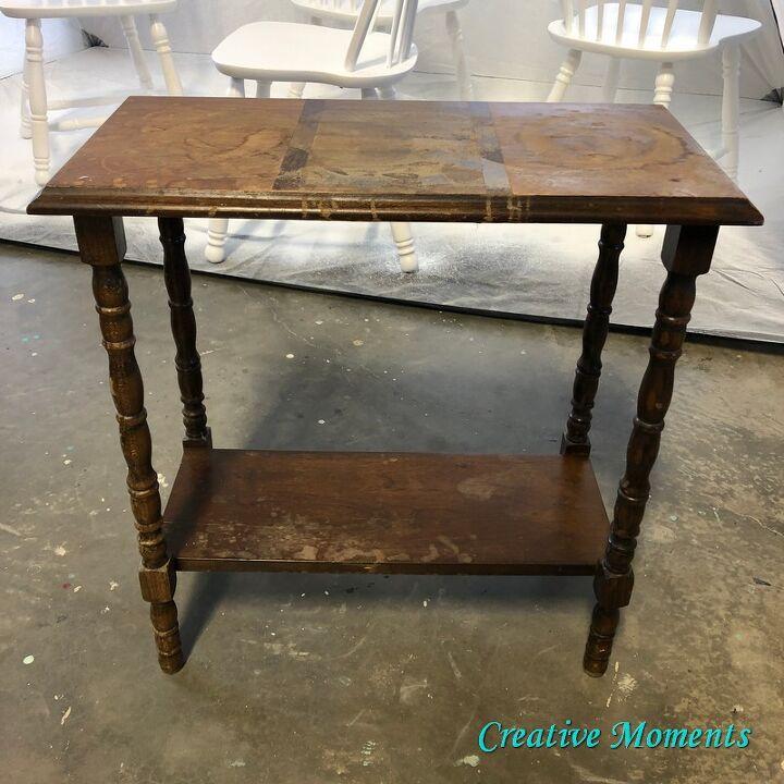 antique table rebuild paint