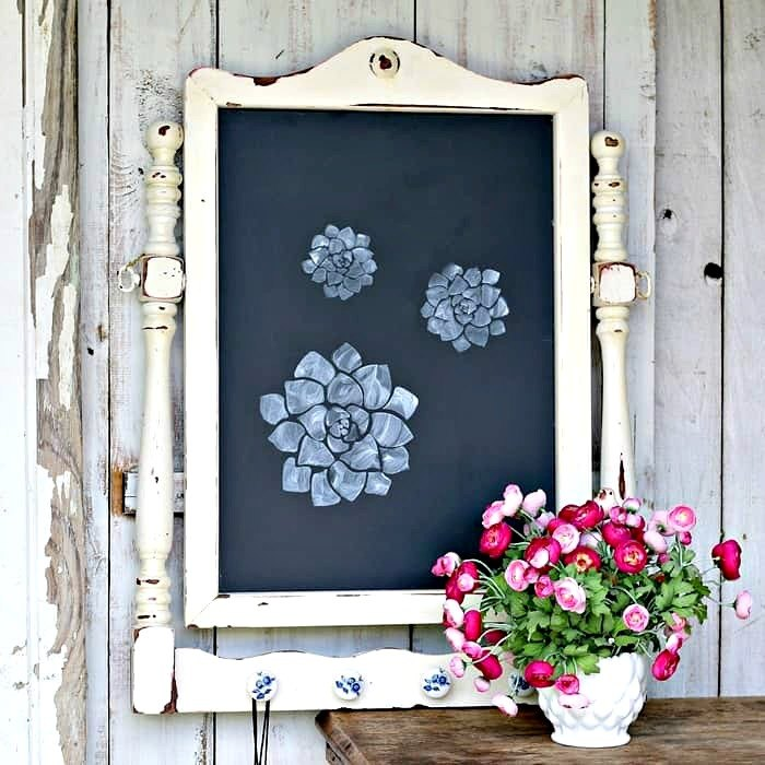 diy chalkboard made from an old mirror fame