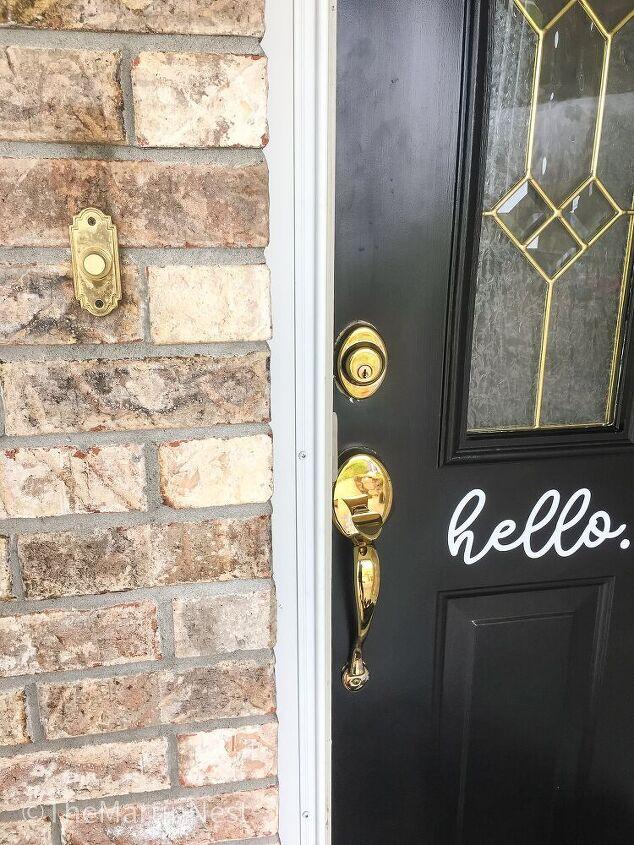 front door hardware update with spray paint
