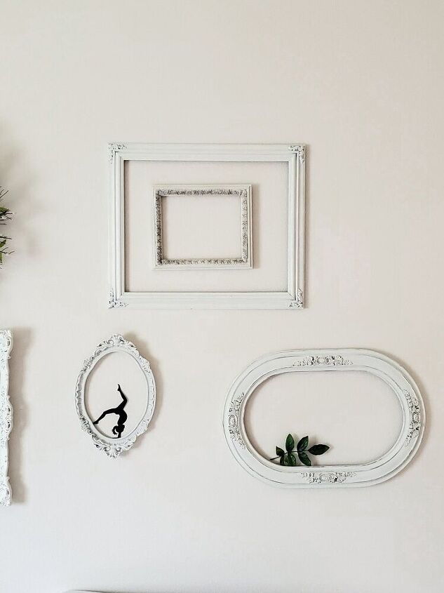 open frame wall gallery from thrifted frames