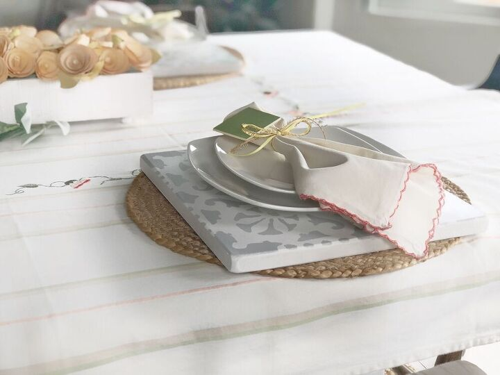 diy stenciled charger place settings
