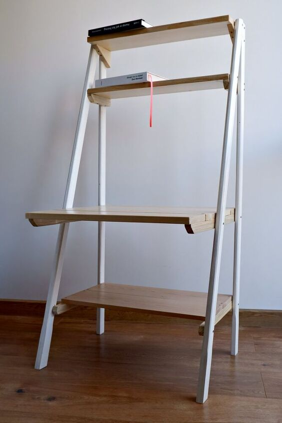 ladder shelf with kind of a coffee table