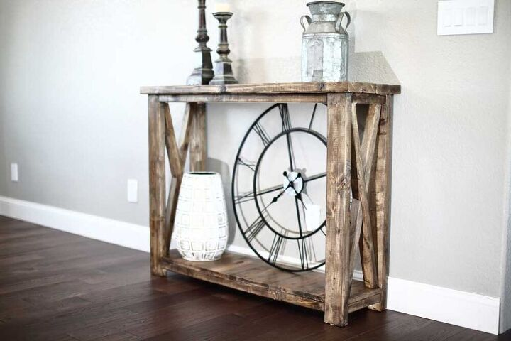 how to build a diy farmhouse entryway console table