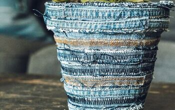 Denim Scraps Flower Pot