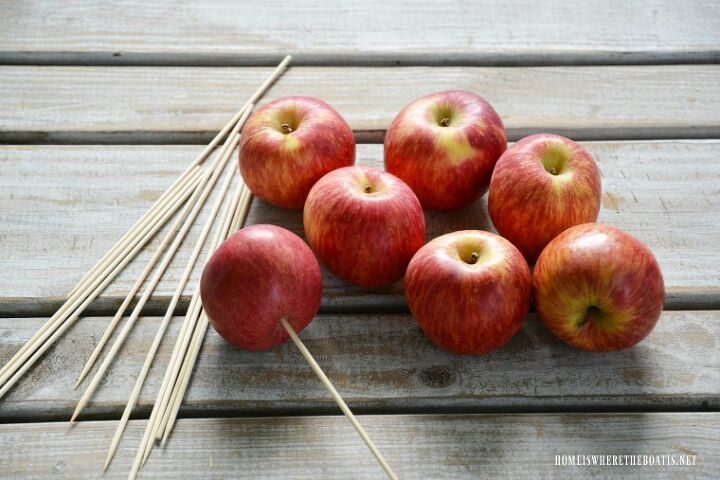 create a transitional or fall flower arrangement with apples