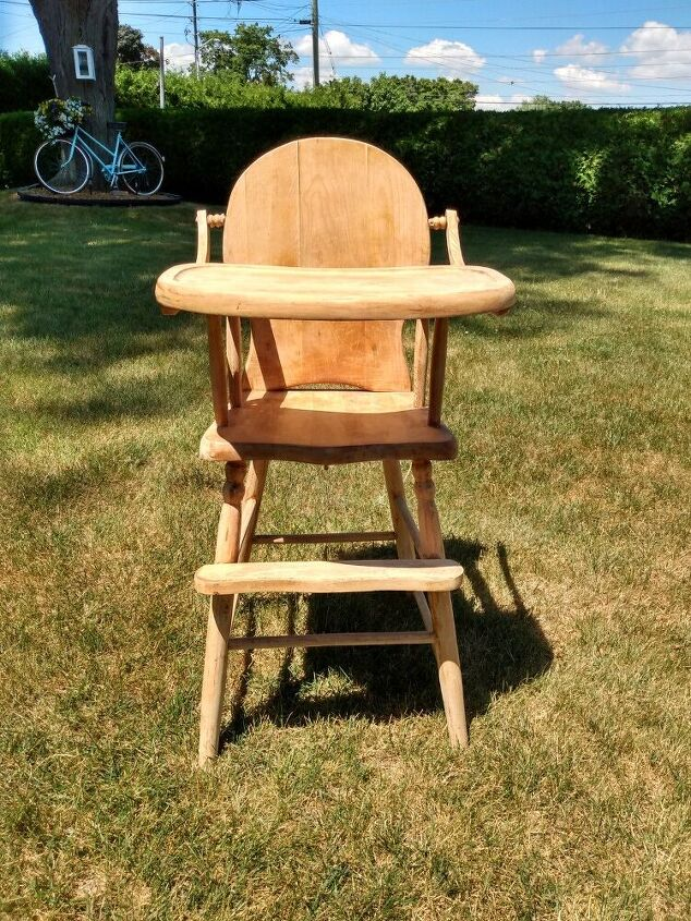restoring an antique highchair
