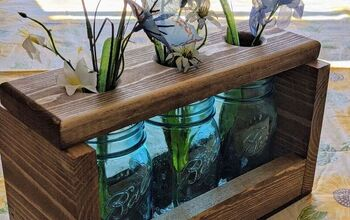 Farmhouse Wood & Mason Jar Table Centerpiece