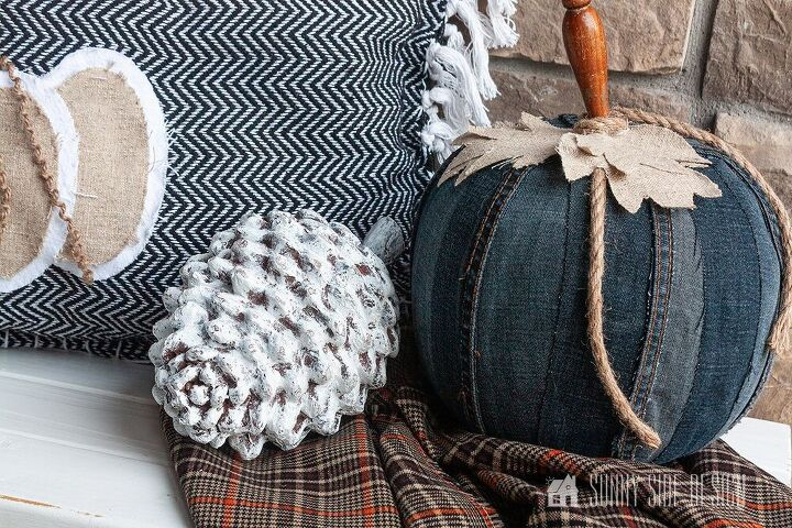 pumpkin decor using an old pair of jeans