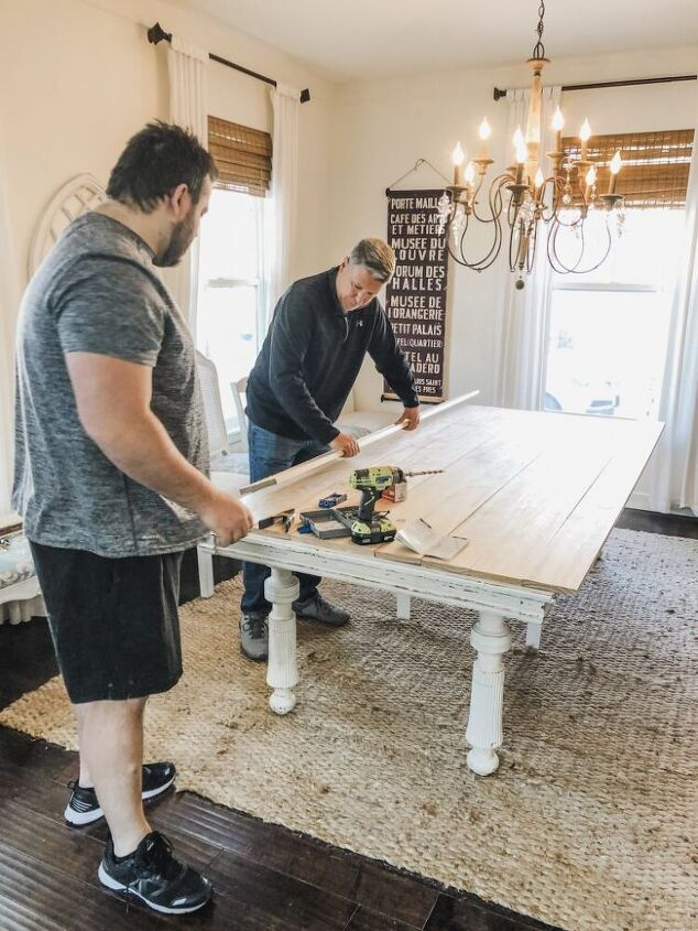 easy diy planked table top over existing table