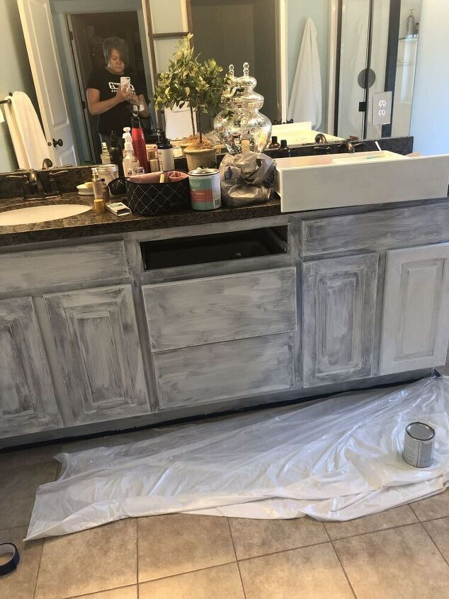 chalk painting bathroom cabinets for master bathroom makeover