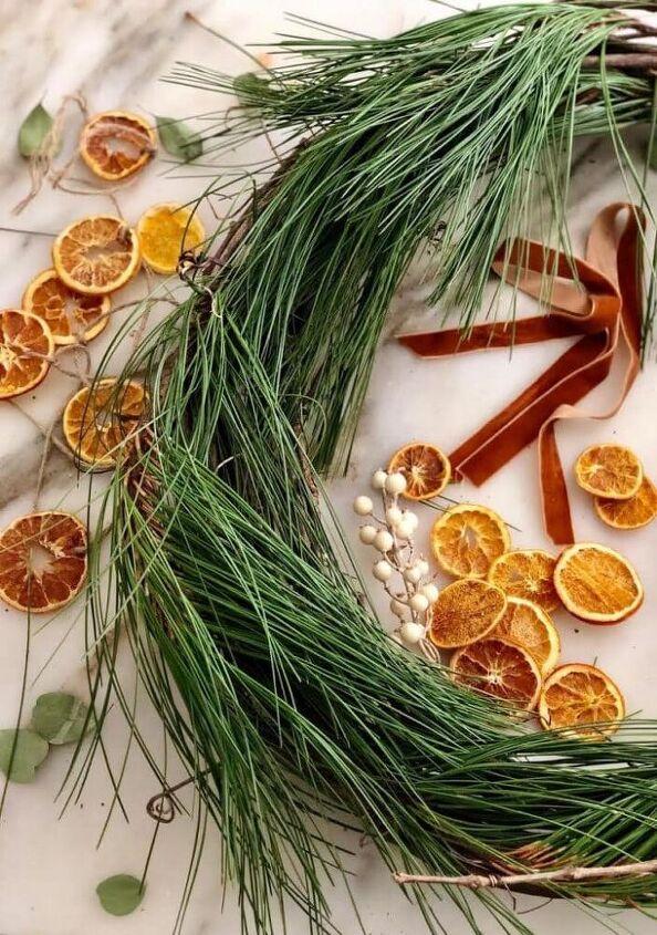 diy orange slice fresh greens wreath