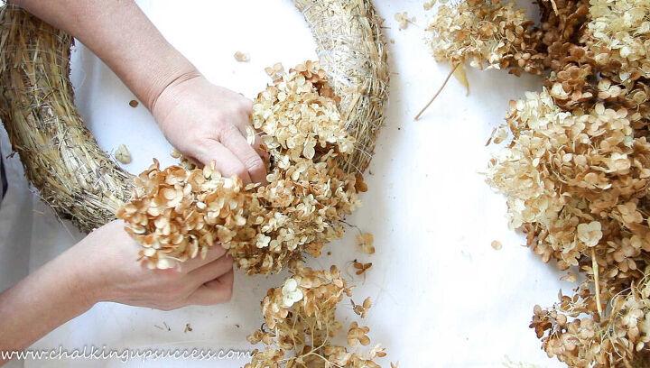 autumn wreaths with dried hydrangea flowers