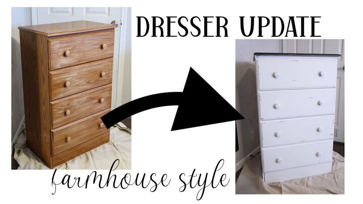 inexpensive faux wood dresser update to farmhouse style
