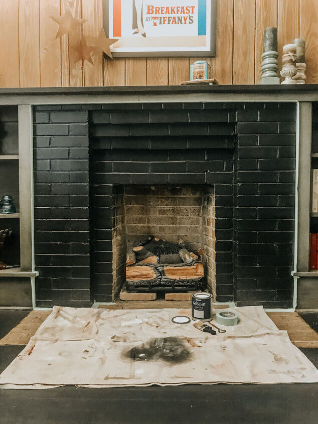 painting the fireplace bricks