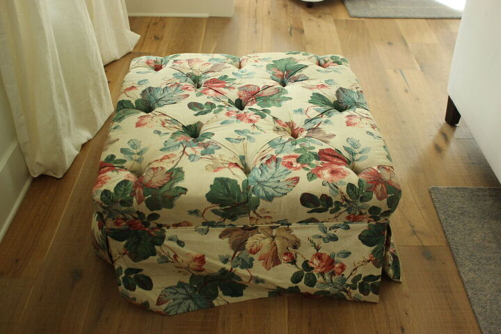 transform your old fabric ottoman by painting it