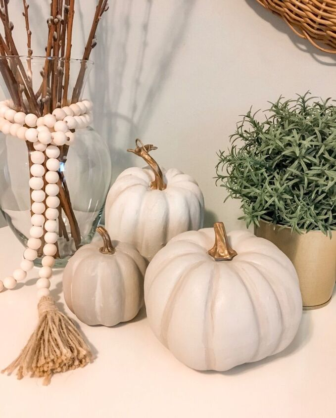 faux stoneware pumpkins