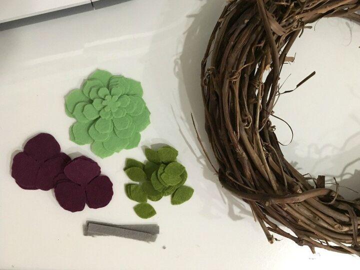 felt succulent grapevine wreath
