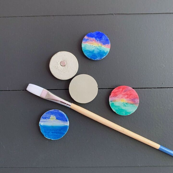 diy colorful cement magnets