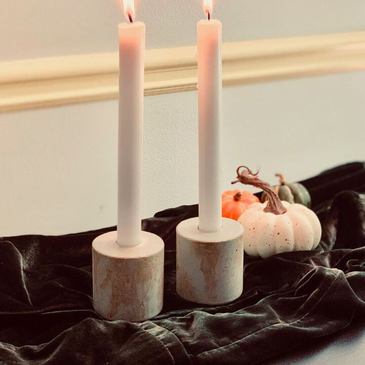 diy concrete candlestick holders for fall