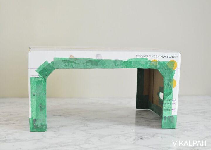 diy cardboard table from diaper box