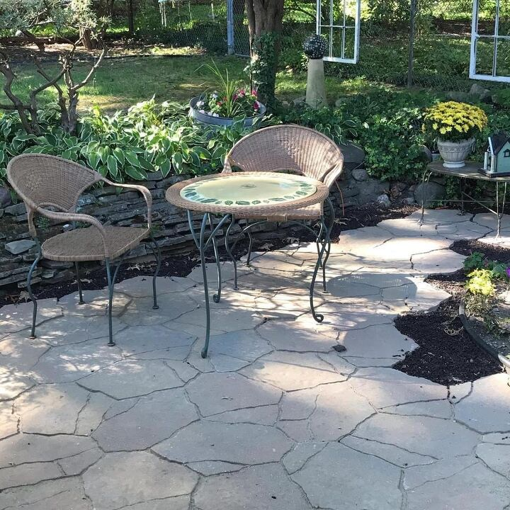 neglected pond turned beautiful patio area