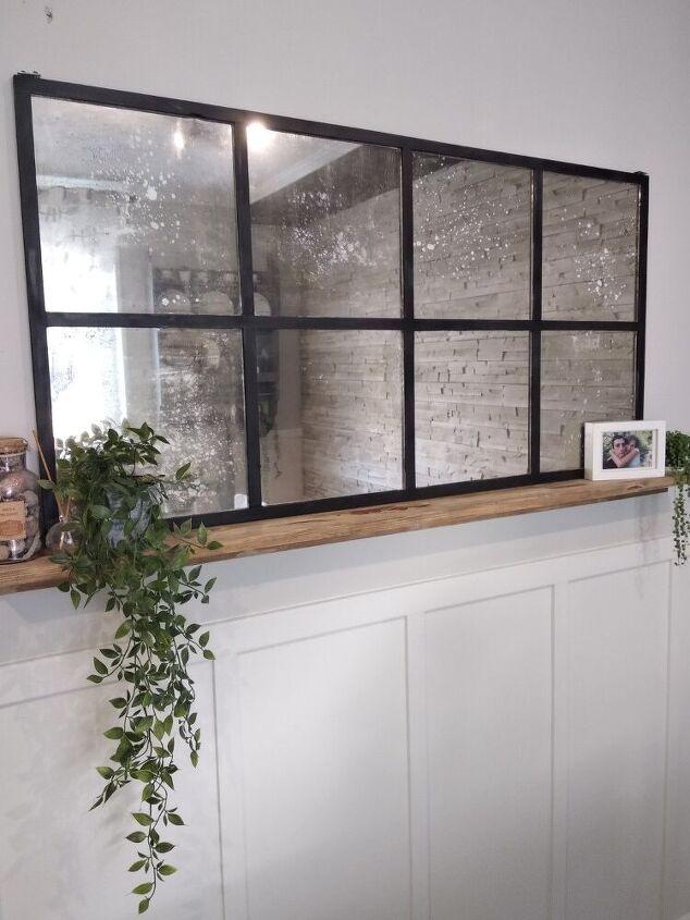 diy window pane aged mirror