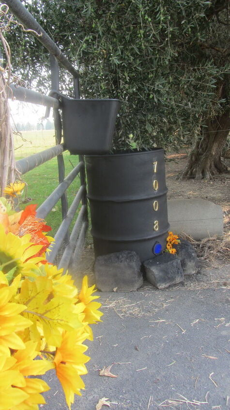 a rusty barrel gets a new look all because of a dog
