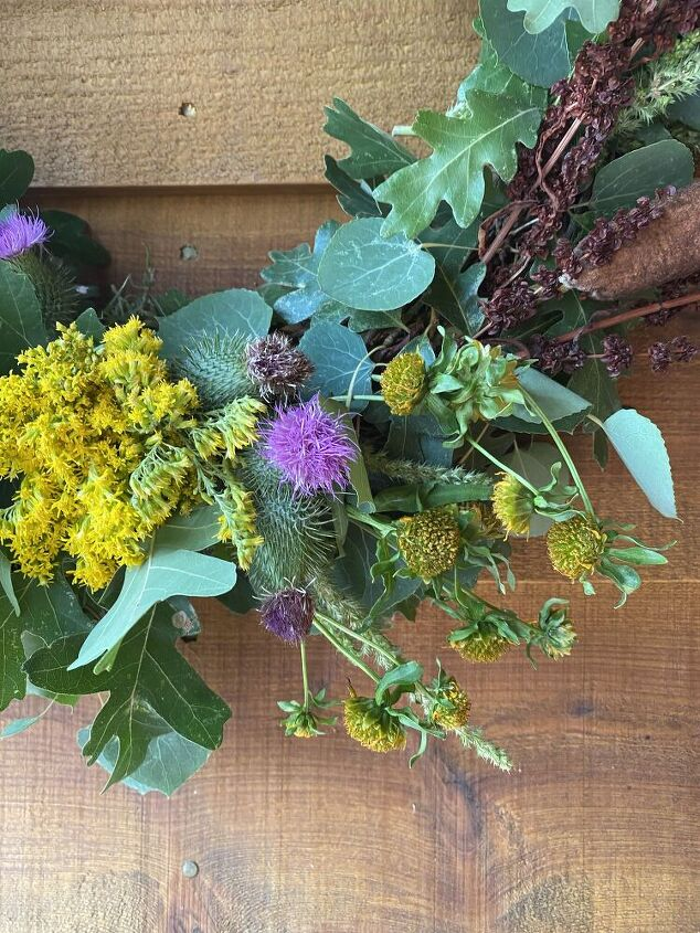 making a wreath from natural materials