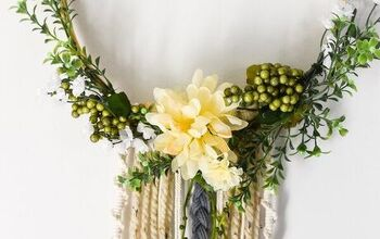 How to Make a Boho Floral Hoop Wreath With Yarn Tutorial